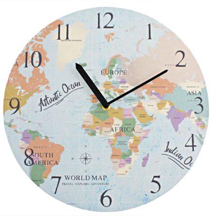 Wereld Map Klok Rond